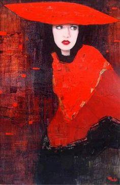 Richard Burlet / To Klimt Female Portrait, Portrait Art, Richard Burlet, Art Abstrait, Cultural, French Artists, Figure Painting, Figurative Art, Lady In Red