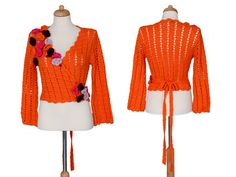 #Vintage #Crochet #Bolero - #Bohemian #Orange Cross Body #Sweater With #Romantic #Flowers