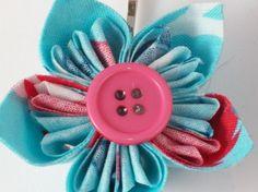 Blue fabric origami hairslide