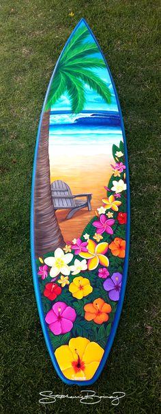 """ALOHA"" Surfboard Wall Art www.stephanieboinayart.com Surfboard Painting, Surfboard Decor, Skateboard Design, Skateboard Art, Beach Please, Surf Design, Hawaiian Art, Sport Craft, Happy Paintings"