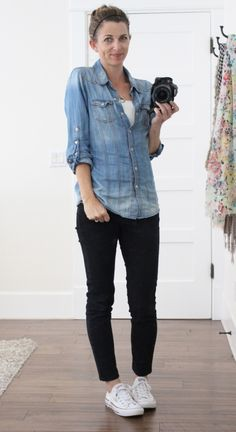 what i wore - chambray shirt, black jeans, converse - classic casual