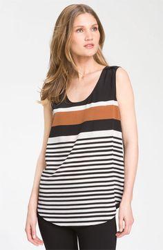 Nordstrom Collection Sleeveless Stripe Silk Blouse