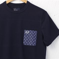 Fred Perry Drakes Paisley Print Pocket T-Shirt (Navy) – New-Entry Clothing #fredperry #paisley #drakes #tee #menswear