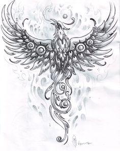 TATTOO FÊNIX: Coleção Fênix Desenhada a lápis