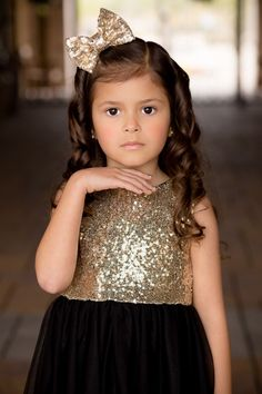 Black and Gold Sequin Dress Our Party Girl dress is absolutely beautiful and a perfect dress for any special occasion . A breathtaking gold sequin bodice accented with flowing black tulle with have yo Gold Sequin Dress, Gold Sequins, Toddler Dress, Baby Dress, Girls Party Dress, Dress Party, White Long Sleeve Dress, Date Dresses, Trendy Dresses