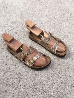Betula by Birkenstock Gold/Bronze Jewel Sandals Size 9 (40) #Betula #Slides