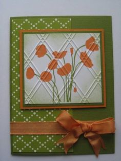 Orange Posies  PaperTrey Ink Botanical Silhouettes    Stamps: PaperTrey Ink    Paper: October Afternoon    Ink: Marvy & Color Box Chalk    Accessories: Sizzix emb.folder, ribbon    Techniques: simple stamping