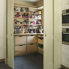 kitchen pantry cabinet design ideas Utility Room Storage, Cupboard Storage, Storage Room, Kitchen Storage, Storage Ideas, Kitchen Organization, Food Storage, Kitchen Pantry Design, Kitchen Pantry Cabinets