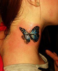 3D butterfly neck - 70  Amazing 3D Tattoo Designs  <3 <3
