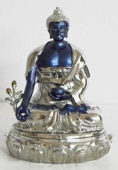 Silver Plated Blue Medicine Buddha