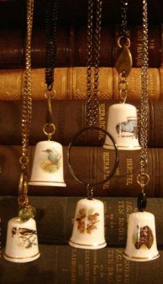 Bone china thimble necklaces