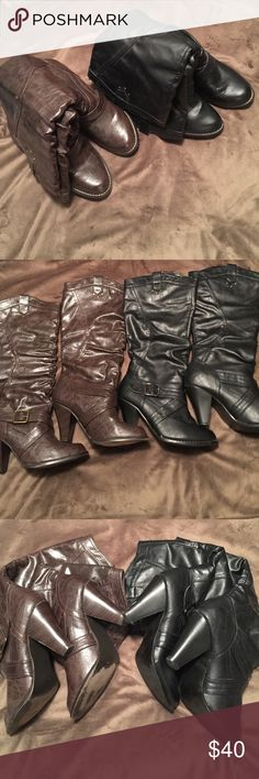 """2 pair of Boots Rampage boots bought from Belks! Man made material. Heels in great condition. Small scuff on one black. Can be scrubbed off. 4"""" heels. Paid almost 200$ for both. Rampage Shoes Heeled Boots"""