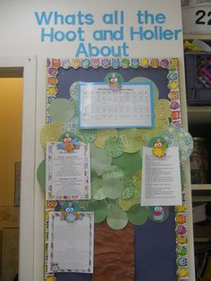 Parent Information board. I made the tree out of green scrapbook paper circles and I cu out and glued little owls to clothespins and glued the clothespins to a few scrapbook circles...now I can just clip papers on there instead of stapling. This keeps the board nice and neat!