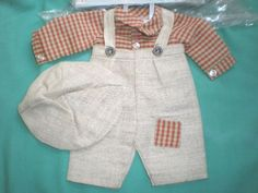 Puppenanzug-Hose-Hemd-u-Muetze-40-doll-suit-3-pieces-40