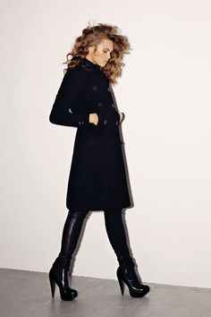 Black trench coat and boots.