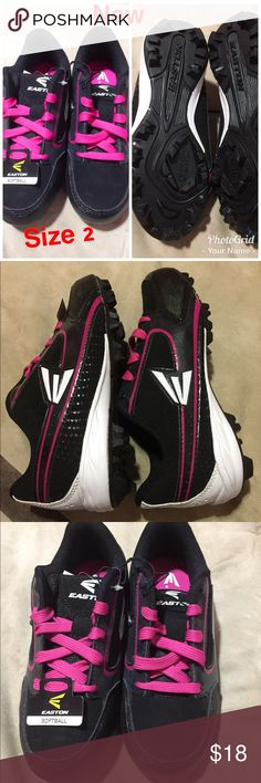 Black and pink girls cleats softball Easton size 2 Black and pink girls cleats softball Easton size 2 new!! Shoes Sneakers