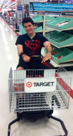 I pulled somethin my leg this weekend and had to use the electric cart at #target lol haha I couldn't stop laughing!