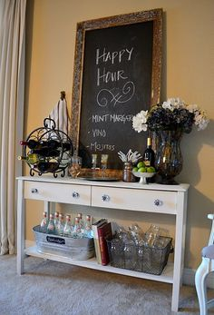 DIY bar w/ table & chalkboard.infuse this with bar top Do It Yourself Furniture, Do It Yourself Home, Diy Furniture, Office Furniture, Diy Bar, Side Board, Bar Deco, Living On A Budget, Interior Decorating