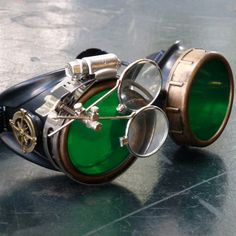 This classic Steampunk goggle design is accentuated by a pair of brilliant azure blue lenses that are sure to stand out in crowd. Description from steampunkgoggles.com. I searched for this on bing.com/images