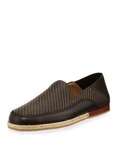Pelle Tessuta Espadrille Loafers, Brown