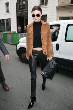 50 must-have fashion items for fall 2015: a suede jacket as seen on Miranda Kerr