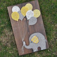 DIY String Art Crafts Kit - Sunflower Crafts Kit comes with the highest quality embroidery floss, HAND sanded and HAND stained wood board, metallic wi. String Art Diy, String Crafts, String Art Balloons, Cute Crafts, Crafts To Do, Arts And Crafts, Arte Linear, Sunflower Crafts, String Art Patterns
