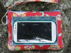 Larger Cell Phone Wallet Red Turquoise Mint by StitchingInTheTrees, $30.00