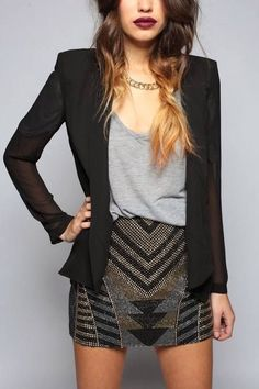 The skirt is a little short for work but I like the pattern, the composition of the outfit, and the blazer.