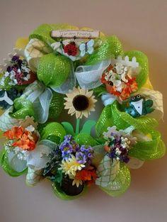 Adorable  Spring Garden Deco Mesh by DesignerWreathsNMore on Etsy