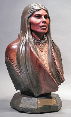 Bill Churchill - American Icon Walnut Wood Sculpture!!!
