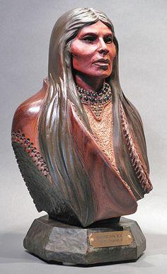 Bill Churchill - American Icon Walnut Wood Sculpture!!!