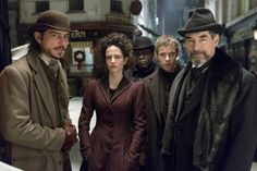 """""""Penny Dreadful"""" Showtime / Sky UK TV promotional still, 2014.  L to R: Josh Hartnett, Eva Green, Danny Sapani, Henry Treadaway, Timothy Dalton.  Based on the 19th century British publications of the same name, this dark Gothic horror series was produced by Sam Mendes' production company.  It would run for two seasons on Showtime and Sky UK.  In 2020, a new series entitled """"Penny Dreadful: City of Angels"""" was introduced with the setting changed to 1930s Los Angeles. New Movies, Good Movies, Movies And Tv Shows, Period Movies, Period Dramas, Penny Dreadful Tv Series, Sam Mendes, Timothy Dalton, Film Studio"""