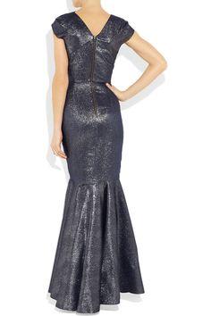 ROLAND MOURET  Copperfield metallic silk-blend gown