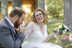 happy couple at The Little Log Wedding Chapel after their elopement wedding
