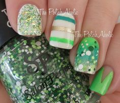 Here are some easy and simple St. Patrick's Day manicures that anyone can do! These nail art ideas are super festive. Nail Art Designs, St Patricks Day Nails, Saint Patrick, Nail Bar, Us Nails, Holiday Nails, Mani Pedi, Cool Nail Art, Coffin Nails