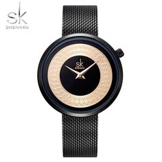 Shengke Dress Female Watch Women Metal Mesh Fashion Clock Vintage Design Ladies Watch Luxury Brand Classical Bayan Kol Saati From Touchy Style Outfit Accessories ( black ) Cheap Watches, Cool Watches, Watches For Men, Wrist Watches, Women's Watches, Latest Watches, Female Watches, Black Watches, Clock Vintage