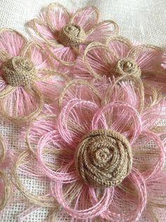 Pink Burlap Flower Set of 6 - Shabby Chic - Rustic - DIY Wedding on Etsy, $29.95