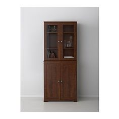 BorgsjÖ Shelf Unit With Panel/glass Doors, Brown