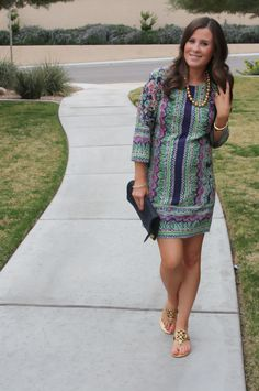Lilly Pulitzer Rylee Shift Dress, Tory Burch Gold Miller Sandals, Clare V Navy Foldover Clutch, J.Crew Gold Beaded Necklace 12