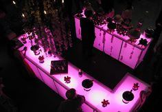Illuminated bars add a beautiful touch to any party.