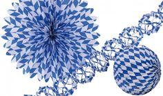Bavaria: blau-weißes Deko-Set für eine bayerische Dekoration Oktoberfest Deko Lampions. Der Fetenman macht Deine Party bunt - party-deko-shop.de