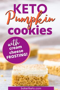 Irresistable keto pumpkin cookie recipe -- these are the best keto pumpkin bars! Made with coconut flour and topped with rich and creamy cream cheese frosting. The PERFECT keto cookies to bring to thanksgiving! Pumpkin Cookie Recipe, Pumpkin Pie Mix, Pumpkin Spice Cookies, Pumpkin Bars, Pumpkin Spice Latte, Pumpkin Recipes, Double Chocolate Chip Cookies, Keto Chocolate Chips, Chocolate Recipes