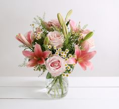 Spring Rose & Lily Bouquet -  • 5 Pink Sweet Avalanche Rose • 3 Pink Asiatic Lily • 3 Greenbell • 5 Tanacetum