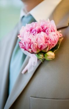 Oversized Pretty Peony Boutonniere by Pinky Photography on Perfect Bound
