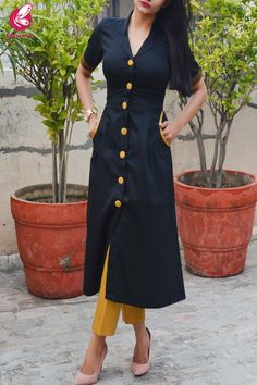 Black & Mustard Cotton Silk Kurti with Mustard Stripes Cotton Silk Pants Source by colorauction clothes kurti Simple Kurta Designs, Silk Kurti Designs, Salwar Neck Designs, Kurta Neck Design, Kurta Designs Women, Kurti Designs Party Wear, Blouse Designs, Latest Kurti Designs, Short Kurti Designs