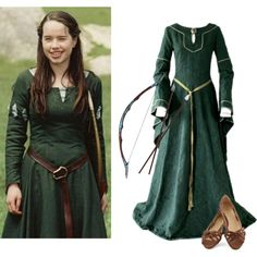 A fashion look from October 2014 featuring lace up ballet flats, purple halloween costumes and green halloween costumes. Browse and shop related looks. Susan Pevensie, Narnia Costumes, Movie Costumes, Halloween Costumes, Lace Up Ballet Flats, Medieval Clothing, Medieval Gown, Chronicles Of Narnia, Fandom Outfits