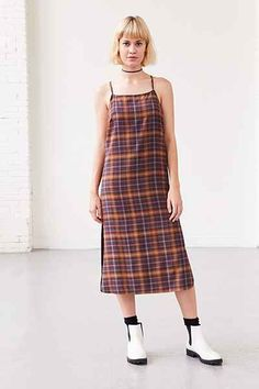 ef7ac2a7111 Silence + Noise Paige Plaid Midi Slip Dress