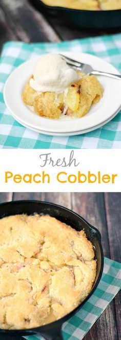 This old-fashioned Peach Cobbler is made with fresh peaches, topped with a cookie like crust and baked to perfection in a cast iron skillet | cookingwithcurls.com
