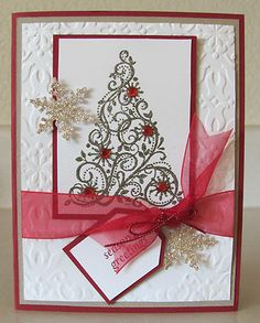 Swirled Snow Flake Christmas Tree Season Handmade Card Kit with Some Stampin Up | eBay