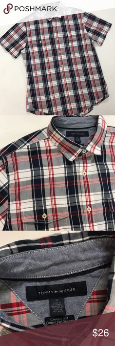 TH Plaid Men Shirt. True M Casual Plaid Shirt button down shirt sleeves double front packets round tail hem. Tommy Hilfiger Shirts Casual Button Down Shirts
